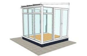 Traditional conservatory with floor to ceiling glass