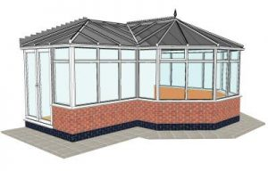 P-shaped conservatory with dwarf wall