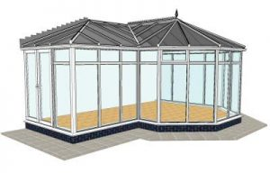 P-shaped conservatory with floor to ceiling glass
