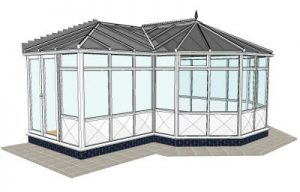 P-shaped conservatory with infill panels