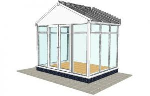 Pavillion conservatory with floor to ceiling glass