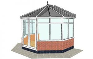 Victorian conservatory with dwarf wall